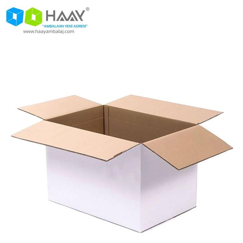60x40x40 cm Beyaz Çift Oluklu A-Box Koli