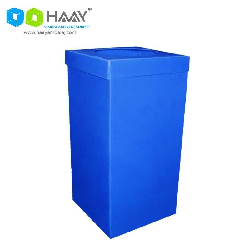 Plastik Atık Kağıt Kutusu Mavi