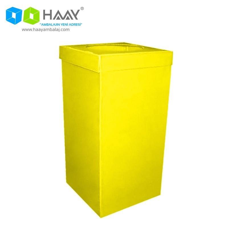 Plastik Atık Kağıt Kutusu Sarı
