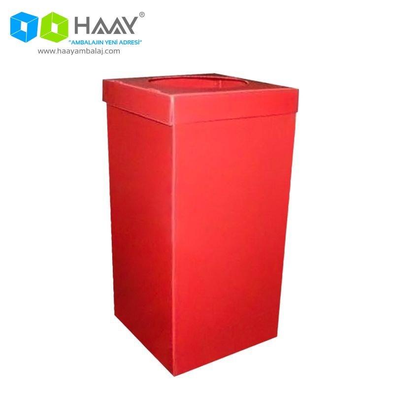 Plastik Atık Kağıt Kutusu Kırmızı