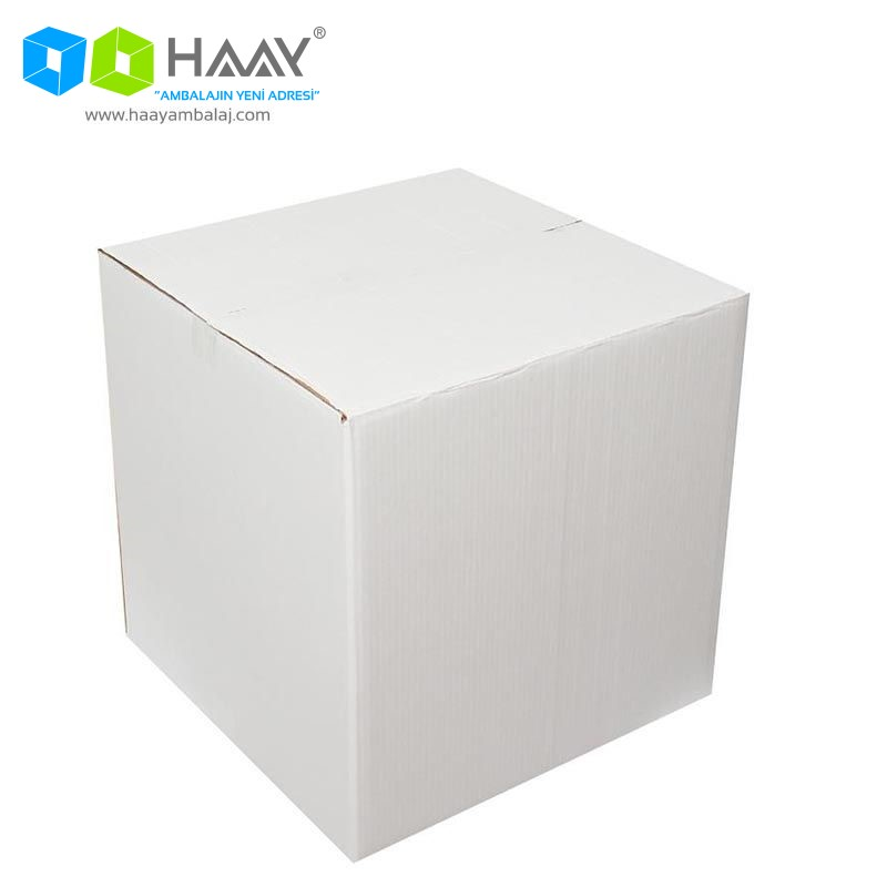 45x45x45 cm Çift Oluklu A-Box Beyaz Koli - 110