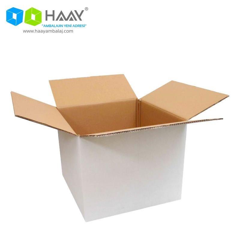 45x44x36 cm Çift Oluklu Beyaz A-Box Koli