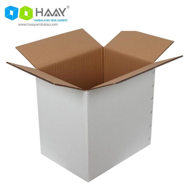 40x30x40 cm Çift Oluklu Beyaz A-Box Koli