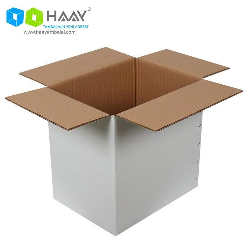 40x30x40 cm Çift Oluklu Beyaz A-Box Koli - 162