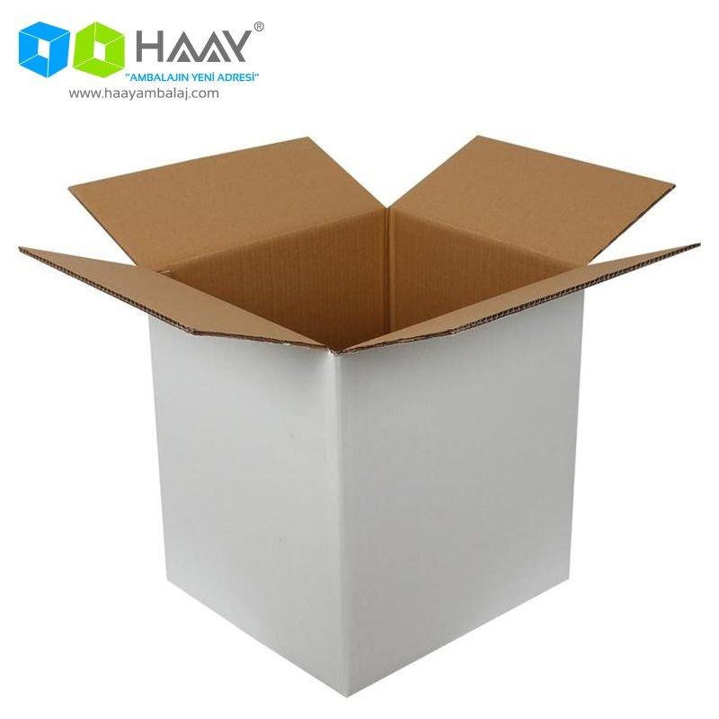 40x36x43 cm Beyaz Çift Oluklu A-Box Koli