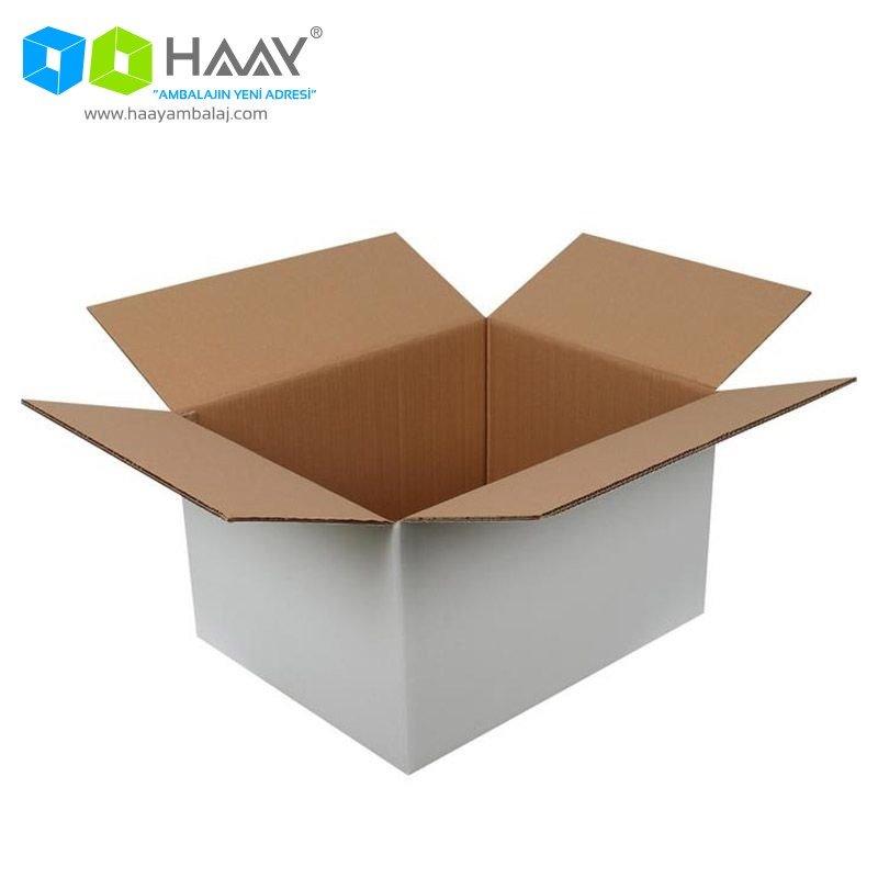 50x40x30 cm Çift Oluklu Beyaz A-Box Koli