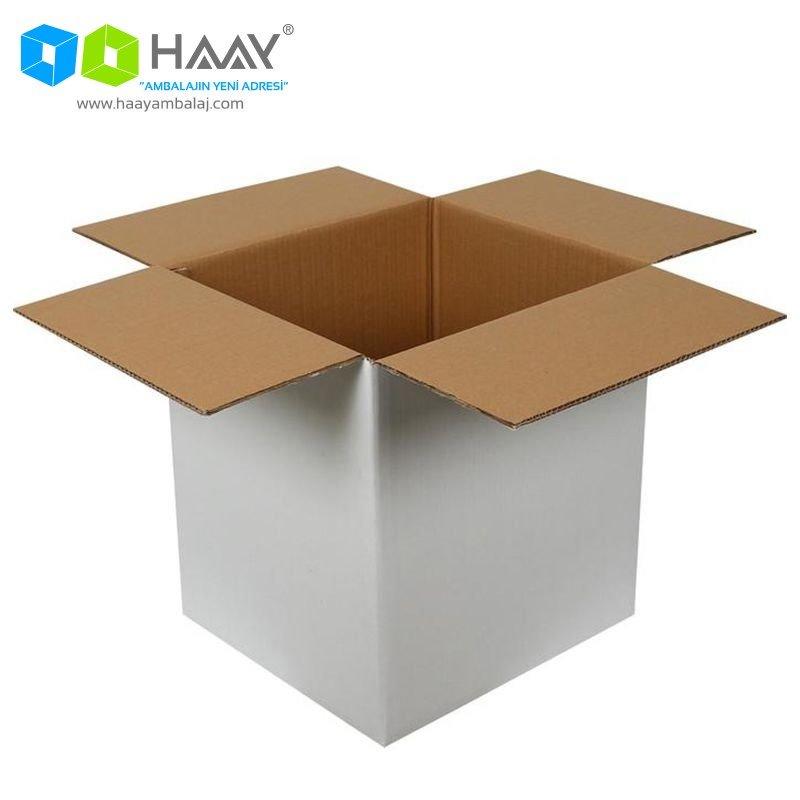 40x36x43 cm Beyaz Çift Oluklu A-Box Koli - 160