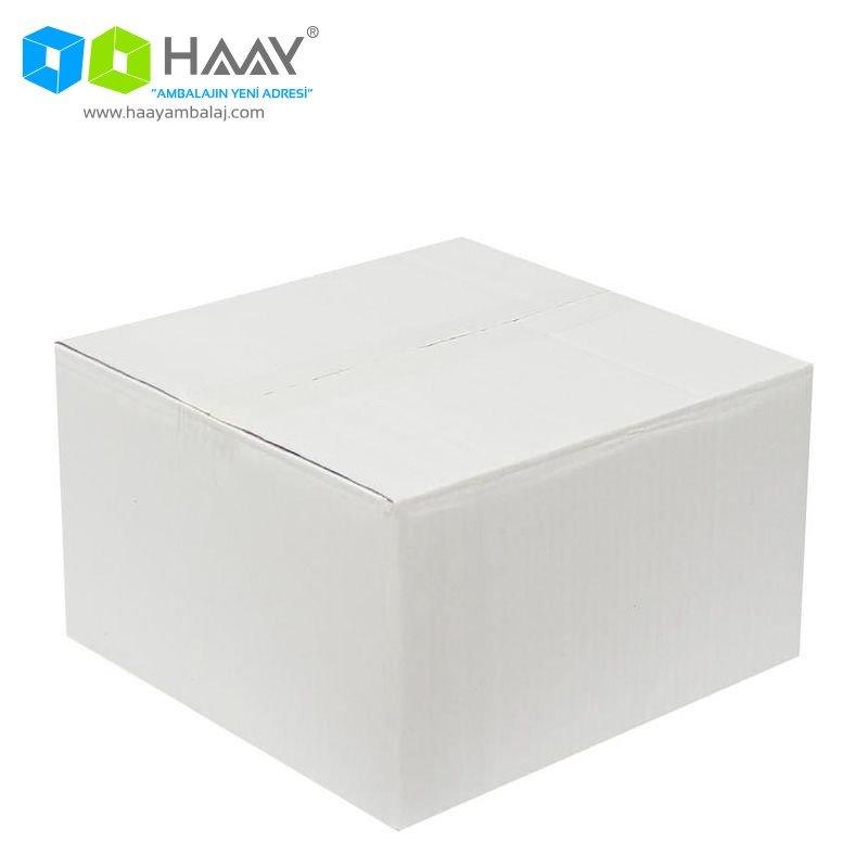 25x25x15 cm Çift Oluklu Beyaz A-Box Koli - 158