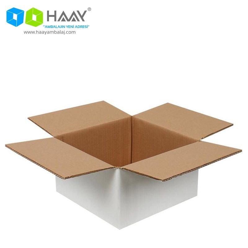 25x25x15 cm Çift Oluklu Beyaz A-Box Koli - 157