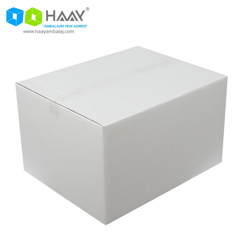 50x40x30 cm Çift Oluklu Beyaz A-Box Koli - 166