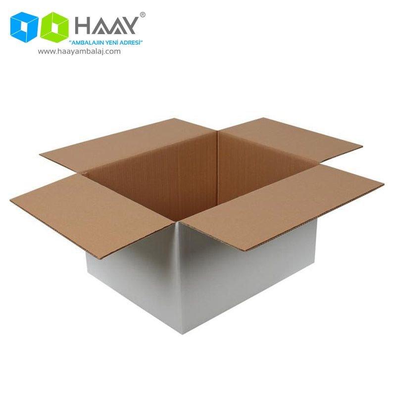50x40x30 cm Çift Oluklu Beyaz A-Box Koli - 165