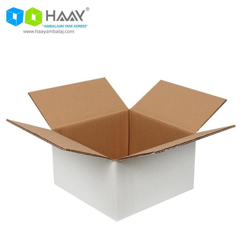 25x25x15 cm Çift Oluklu Beyaz A-Box Koli