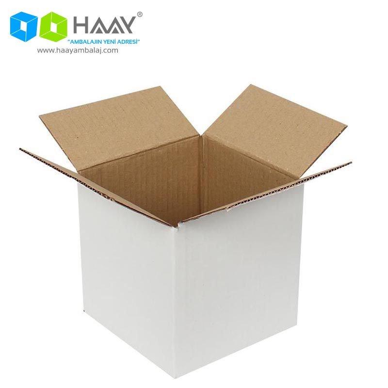 15x15x15 cm Tek Oluklu Beyaz A-Box Koli - 170