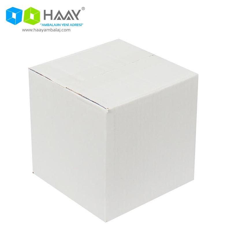 15x15x15 cm Tek Oluklu Beyaz A-Box Koli - 171