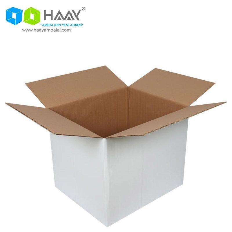 60x50x50 cm Çift Oluklu Beyaz A-Box Koli