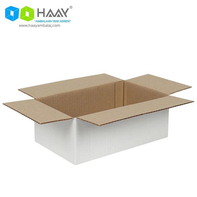25x20x10 cm Tek Oluklu Beyaz A-Box Koli