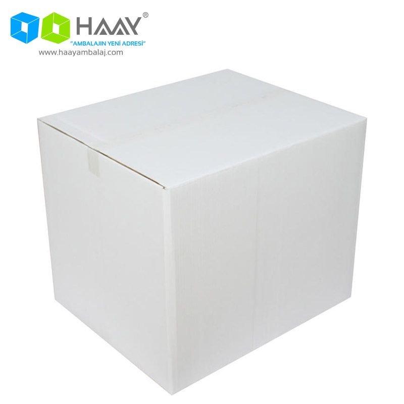 60x50x50 cm Çift Oluklu Beyaz A-Box Koli - 169