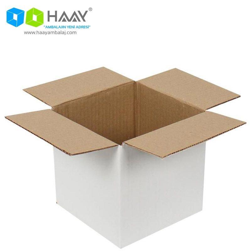 15x15x15 cm Tek Oluklu Beyaz A-Box Koli