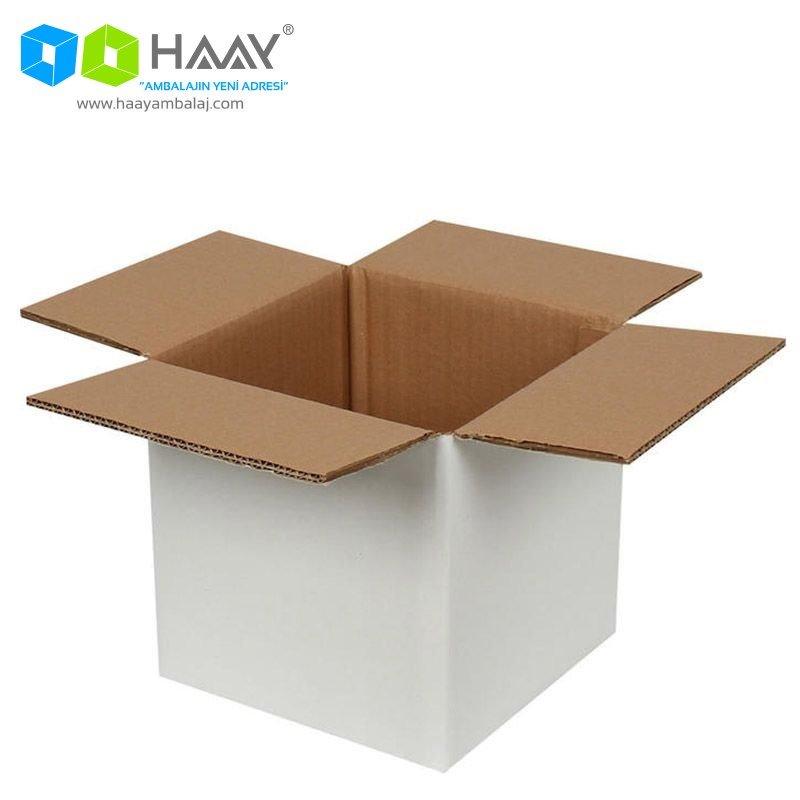 20x20x20 cm Çift Oluklu Beyaz A-Box Koli