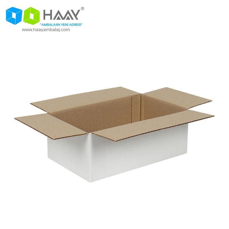25x15x10 cm Tek Oluklu Beyaz A-Box Koli