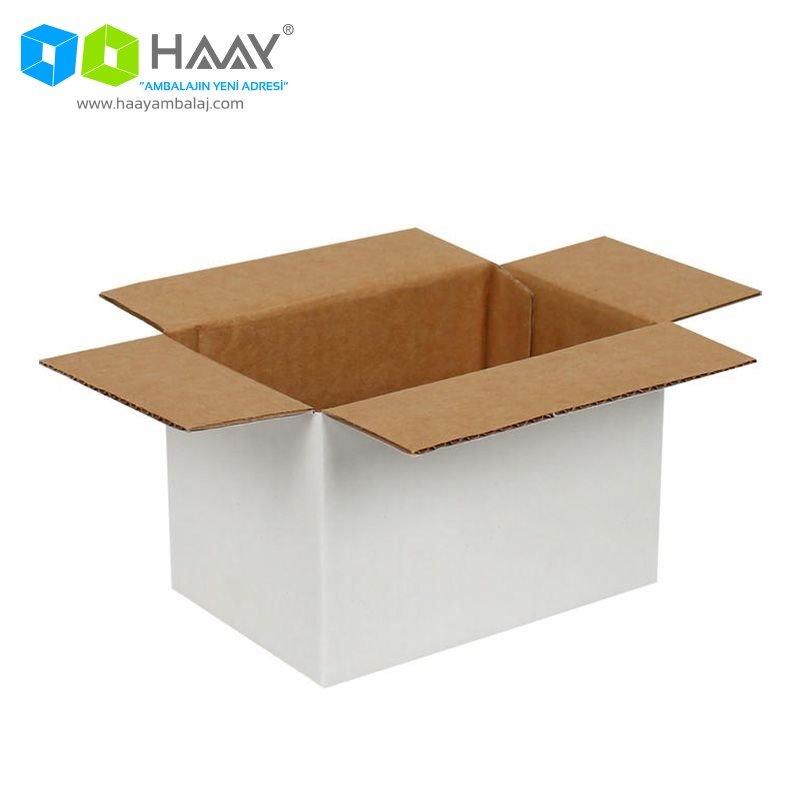15x10x10 cm Tek Oluklu Beyaz A-Box Koli