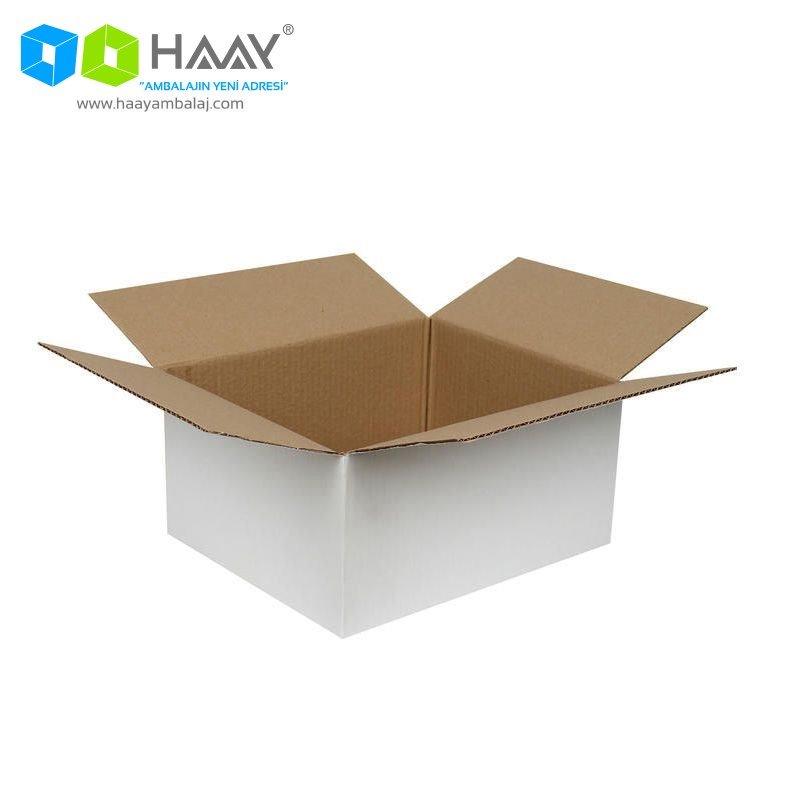 30x25x15 cm Tek Oluklu Beyaz A-Box Koli - 231