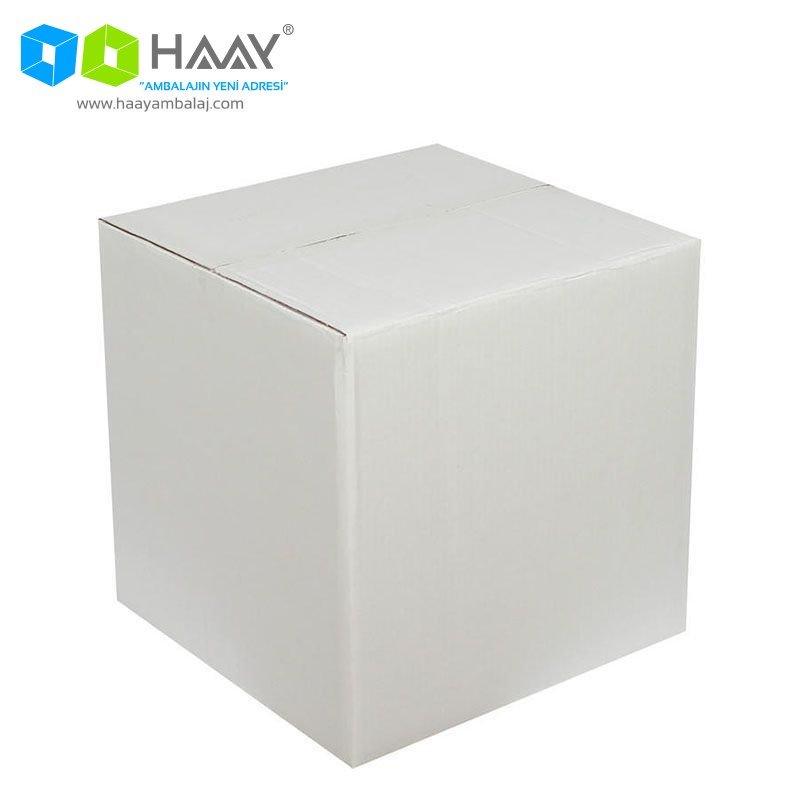 30x30x25 cm Çift Oluklu Beyaz A-Box Koli - 255
