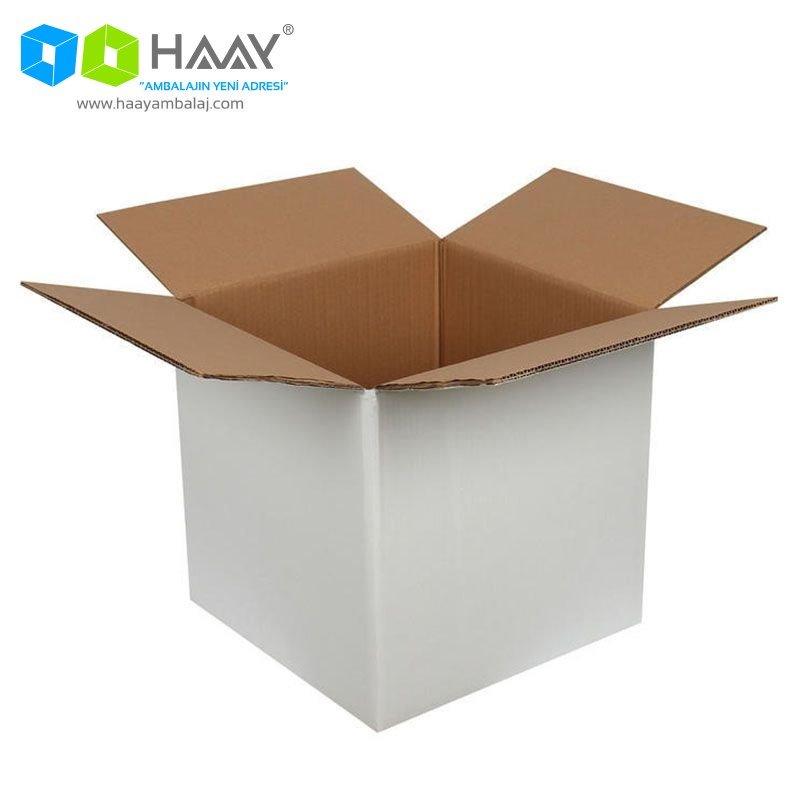 30x30x25 cm Çift Oluklu Beyaz A-Box Koli