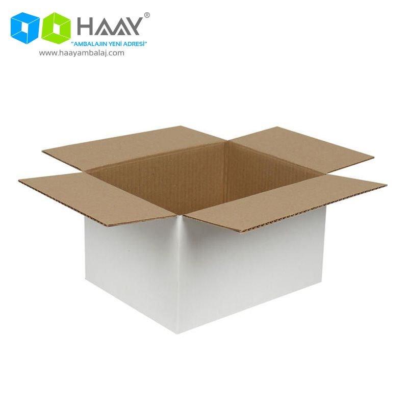 25x20x15 cm Beyaz Çift Oluklu A-Box Koli