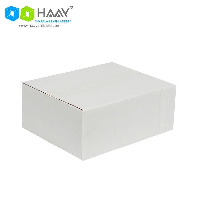 25x20x10 cm Tek Oluklu Beyaz A-Box Koli - 216