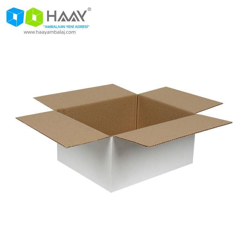 30x25x15 cm Tek Oluklu Beyaz A-Box Koli