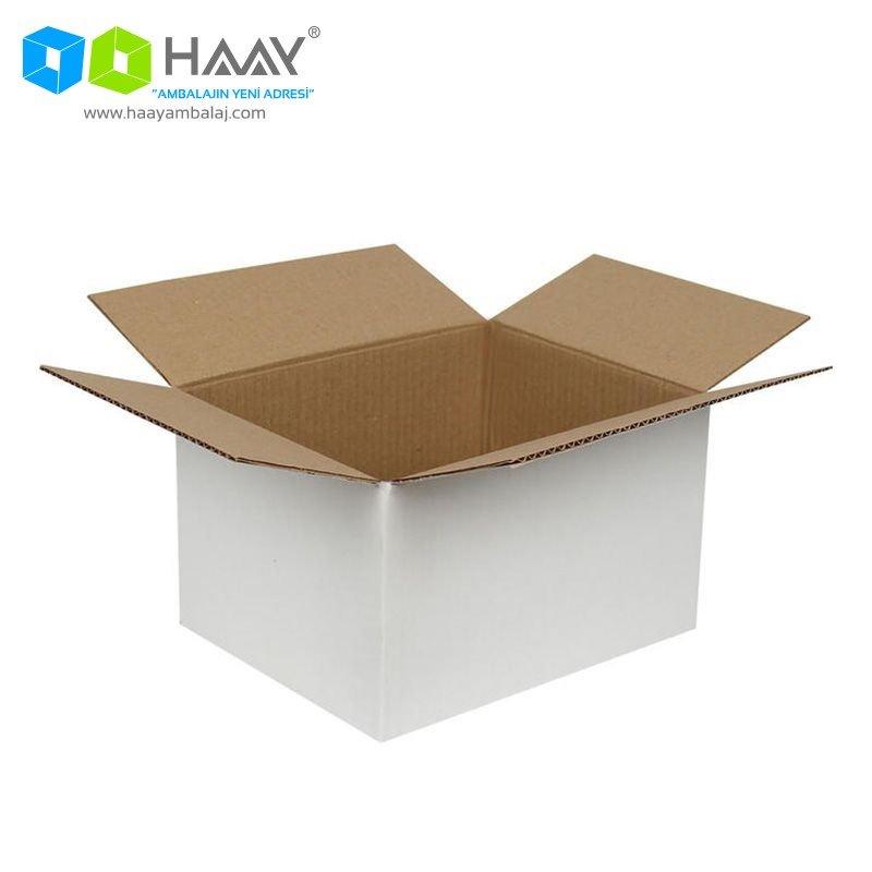 25x20x15 cm Beyaz Çift Oluklu A-Box Koli - 217