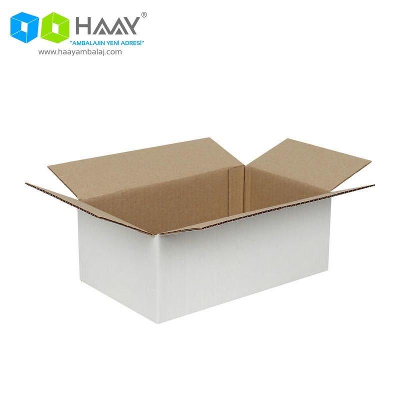 25x15x10 cm Tek Oluklu Beyaz A-Box Koli - 211