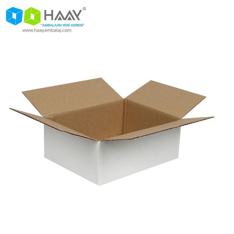 25x20x10 cm Tek Oluklu Beyaz A-Box Koli - 215