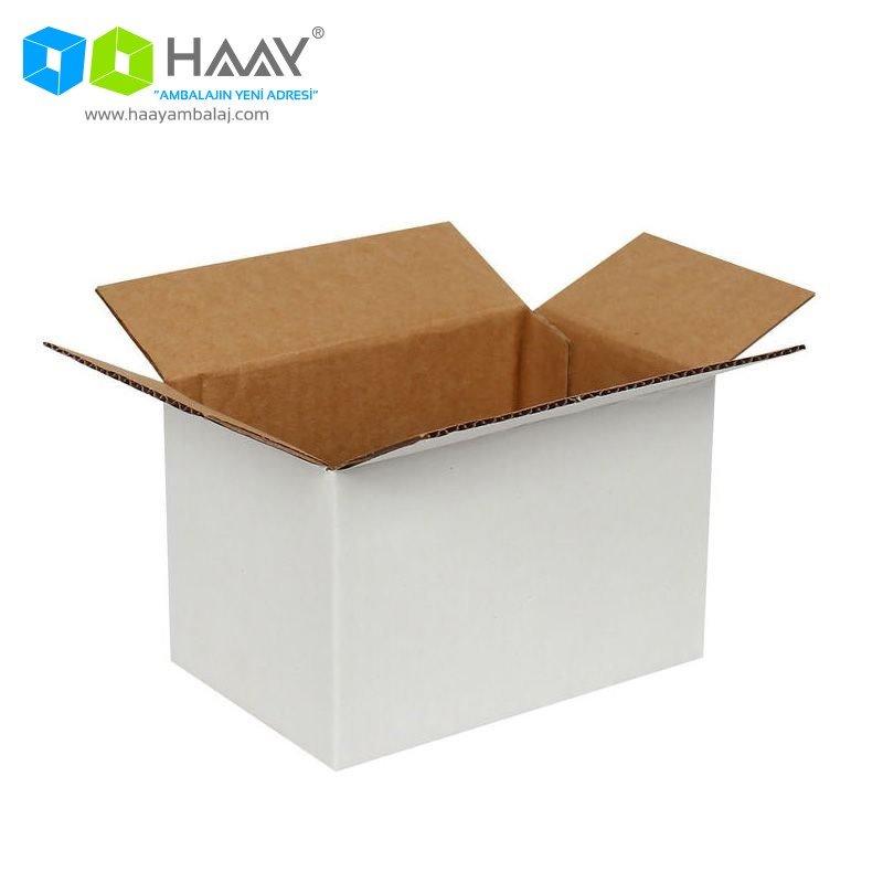 15x10x10 cm Tek Oluklu Beyaz A-Box Koli - 195