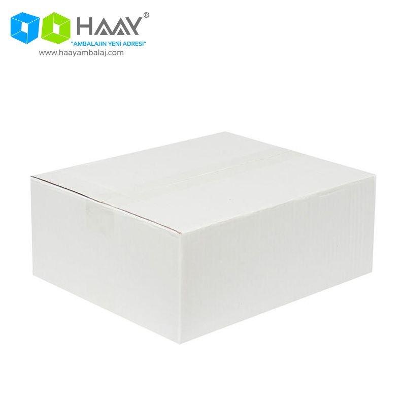 30x25x12 cm Tek Oluklu Beyaz A-Box Koli - 228