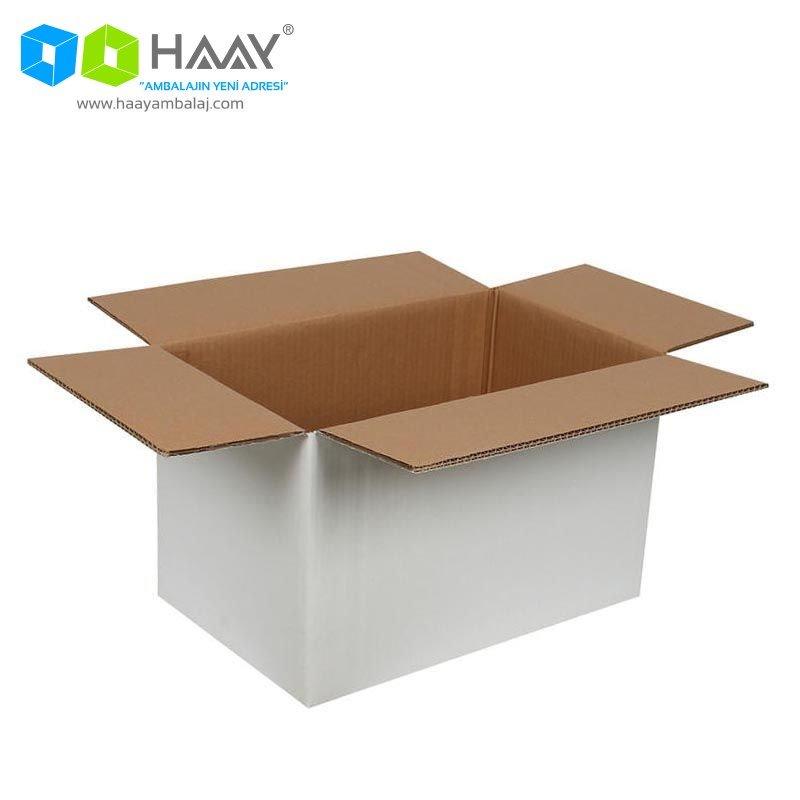 40x25x25 cm Beyaz Çift Oluklu A-Box Koli