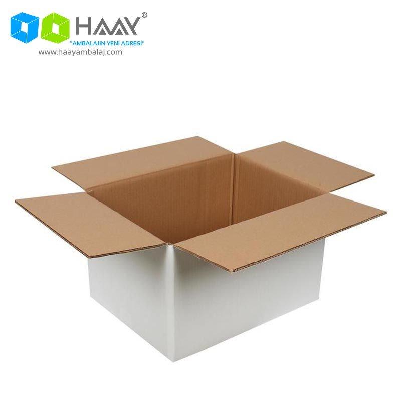 40x30x25 cm Beyaz Çift Oluklu A-Box Koli