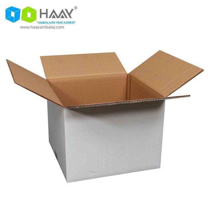 32x32x24,5 cm Beyaz Çift Oluklu A-Box Koli