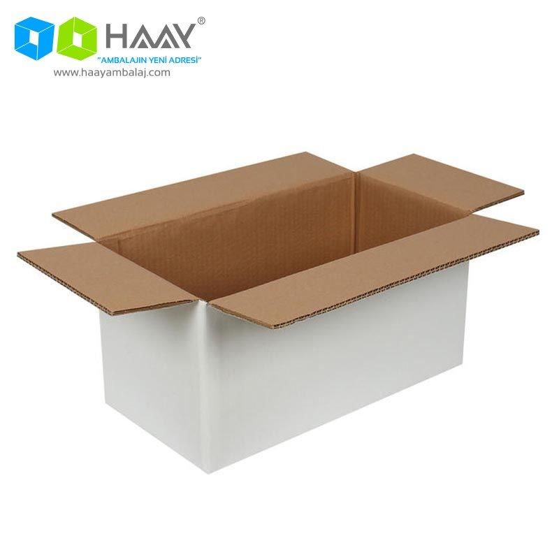40x20x20 cm Beyaz Çift Oluklu A-Box Koli