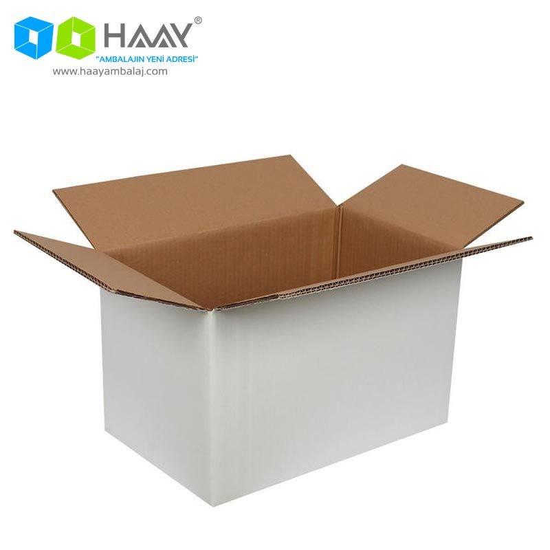40x25x25 cm Beyaz Çift Oluklu A-Box Koli - 274