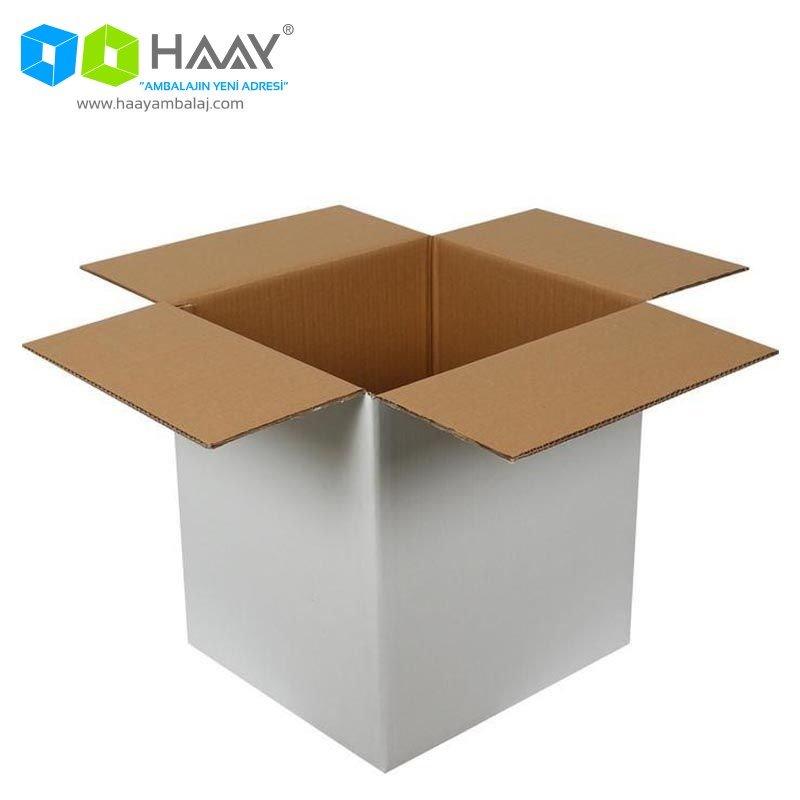 40x33x44 cm Beyaz Çift Oluklu A-Box Koli