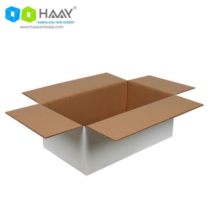 50x30x20 cm Beyaz Çift Oluklu A-Box Koli