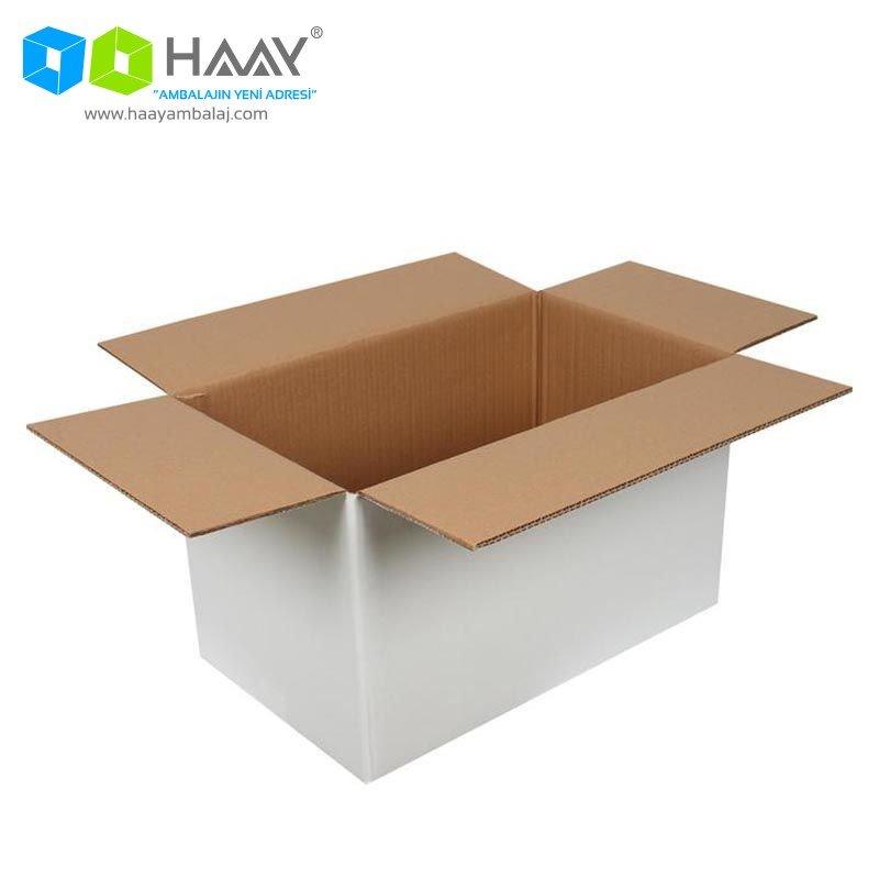 50x30x30 cm Beyaz Çift Oluklu A-Box Koli