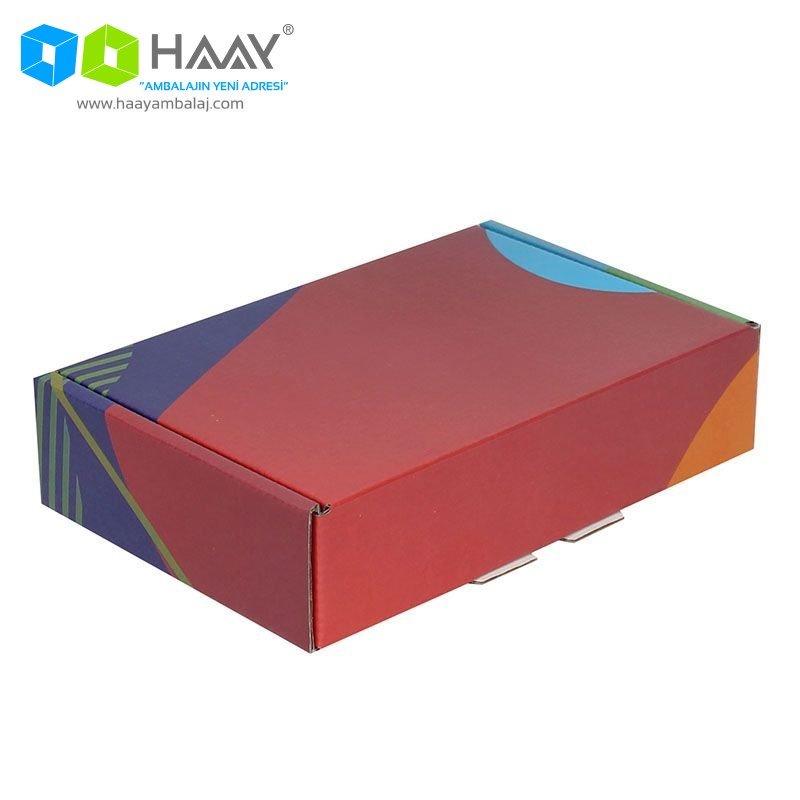 24x16,5x6 cm Renkli Desenli Kutu (Kırmızı Mavi Mor) - 432