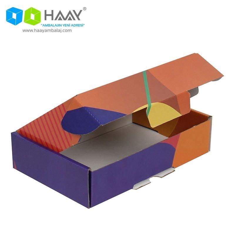 24x16,5x6 cm Renkli Desenli Kutu (Sarı Turuncu Mor) - 429