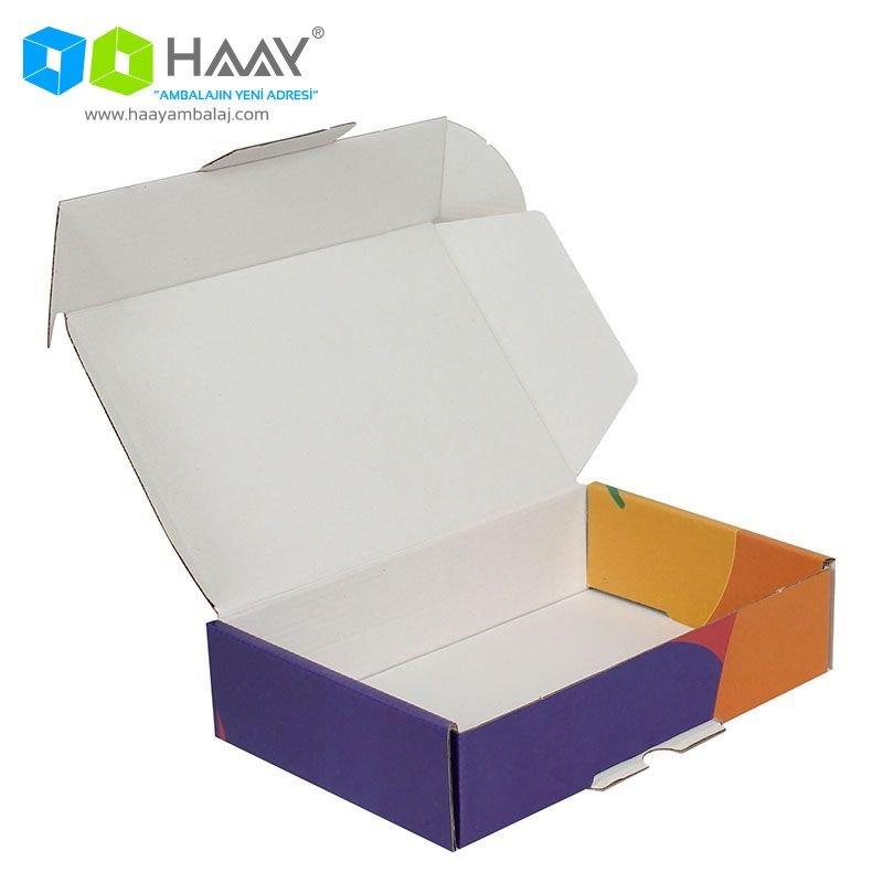 24x16,5x6 cm Renkli Desenli Kutu (Sarı Turuncu Mor)