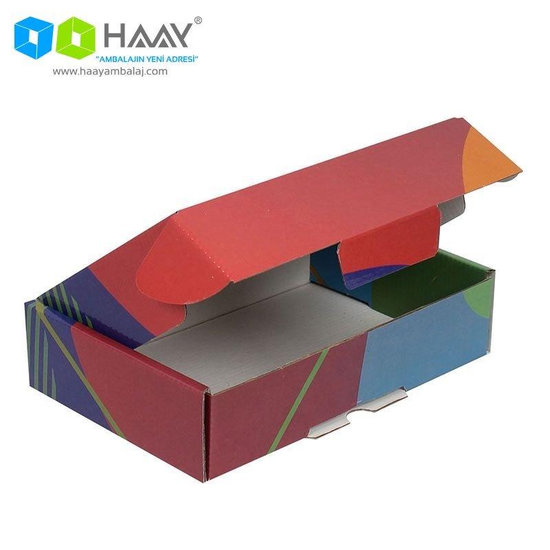 24x16,5x6 cm Renkli Desenli Kutu (Kırmızı Mavi Mor) - 431