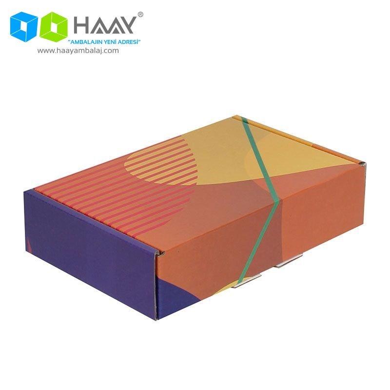 24x16,5x6 cm Renkli Desenli Kutu (Sarı Turuncu Mor) - 430