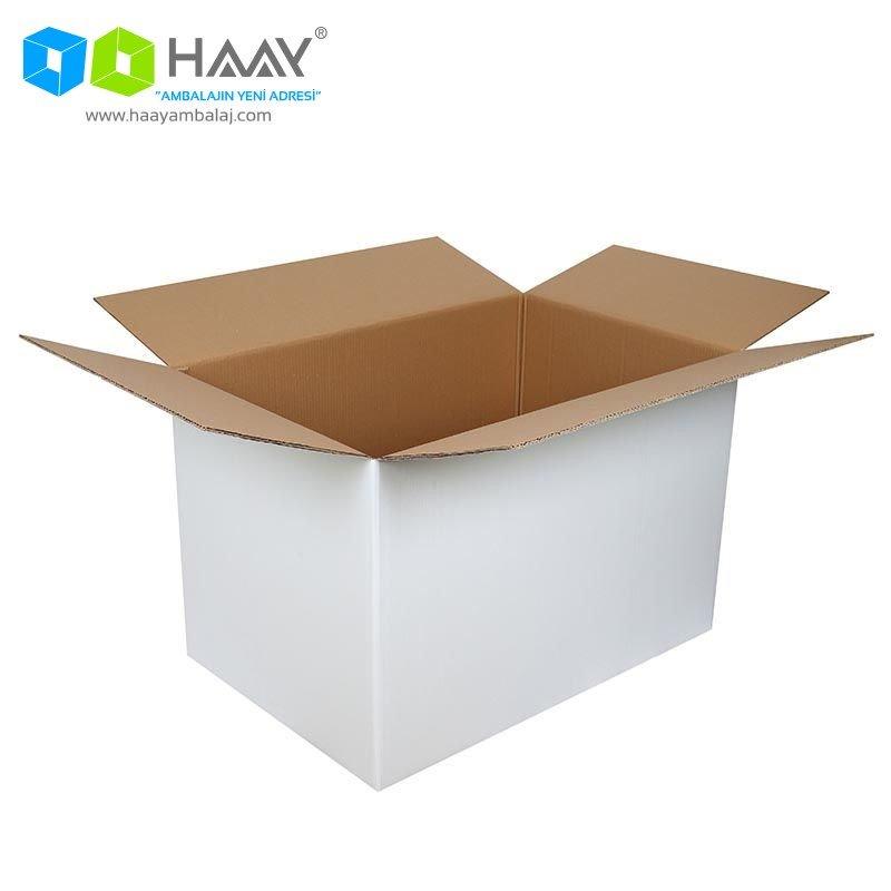 90x60x60 cm Beyaz Çift Oluklu A-Box Koli - 460